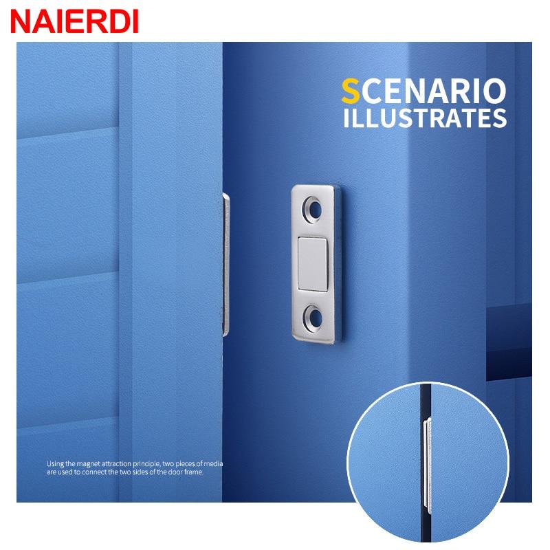 NAIERDI 2 шт./компл., магнитные двери, потайные двери, магнитные двери, доводчики для шкафа с винтом для шкафа, мебельная фурнитура