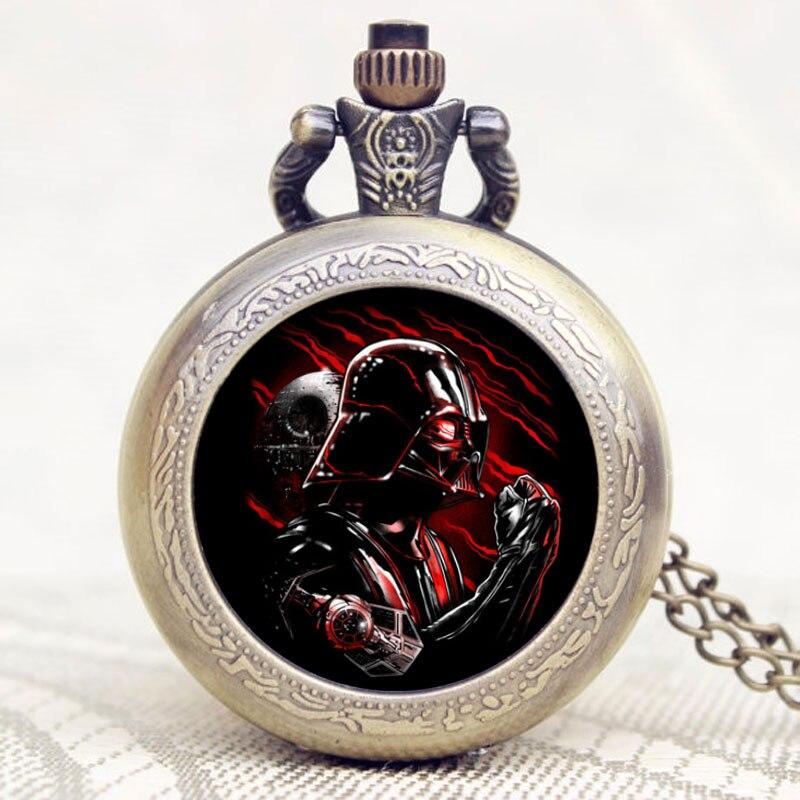 2016 новое поступление, карманные часы Дарта Вейдера из фильма «Звездные войны», бронзовые ретро часы-брелок с цепочкой и ожерельем
