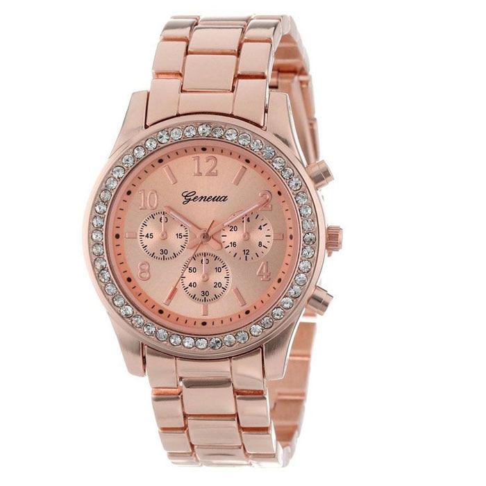 Women Watch Quartz Plated Classic Faux Chronograph Round Ladies Crystals Relogio Masculino Watch Men Boy Rose Gold Clock