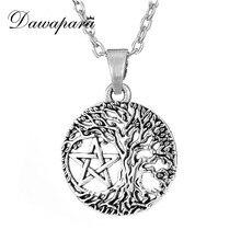 Dawapara arbre de vie collier amulette Yggdrasil Pentacle pentagramme pendentif Colar Masculino