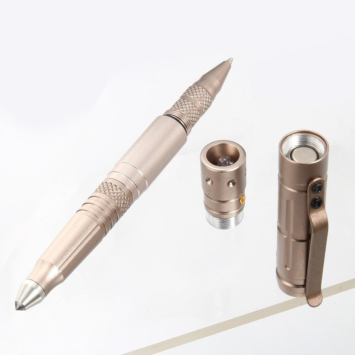 Multi-function Tactical Pen Survival Military LED Flashlight Glass Breaker Self Defense Tool Ballpoint Pens QJY99