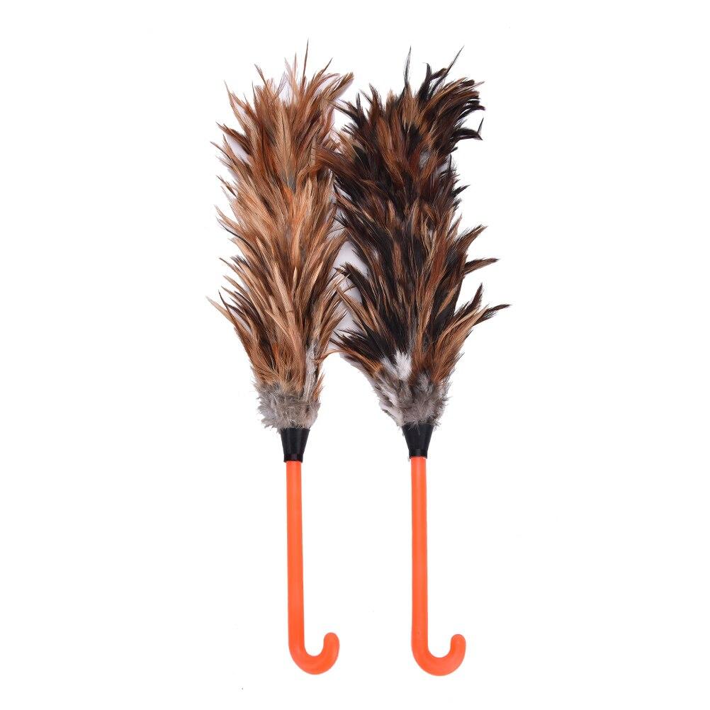 1 Uds 45cm pluma antiestática de plástico mango con gancho cepillo de piel plumero herramienta de limpieza de polvo