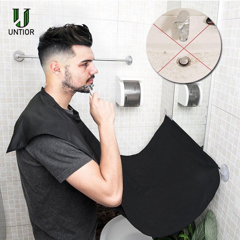 Untior 120x80cm homem avental do banheiro preto barba avental cabelo barbear avental para o homem impermeável floral pano de limpeza doméstica bib