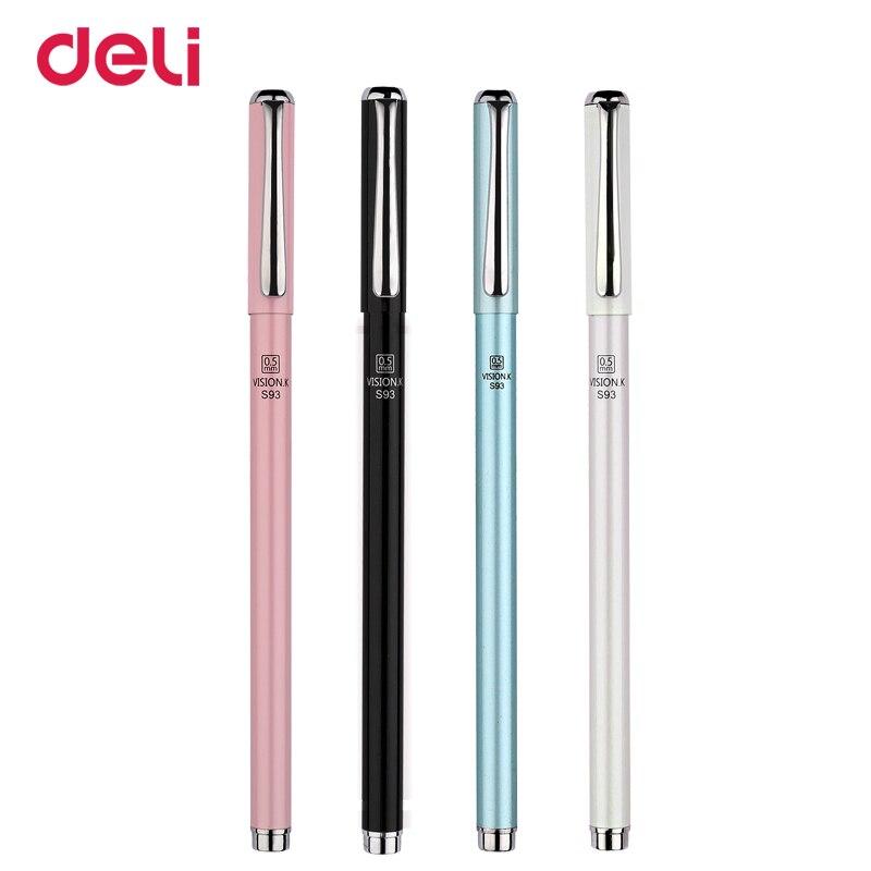 Deli металлическая гелевая ручка 0,5 мм шариковая гелевая ручка для школы, высокое качество, черный, синий, красный, пополнение, kawaii, офисный биз...