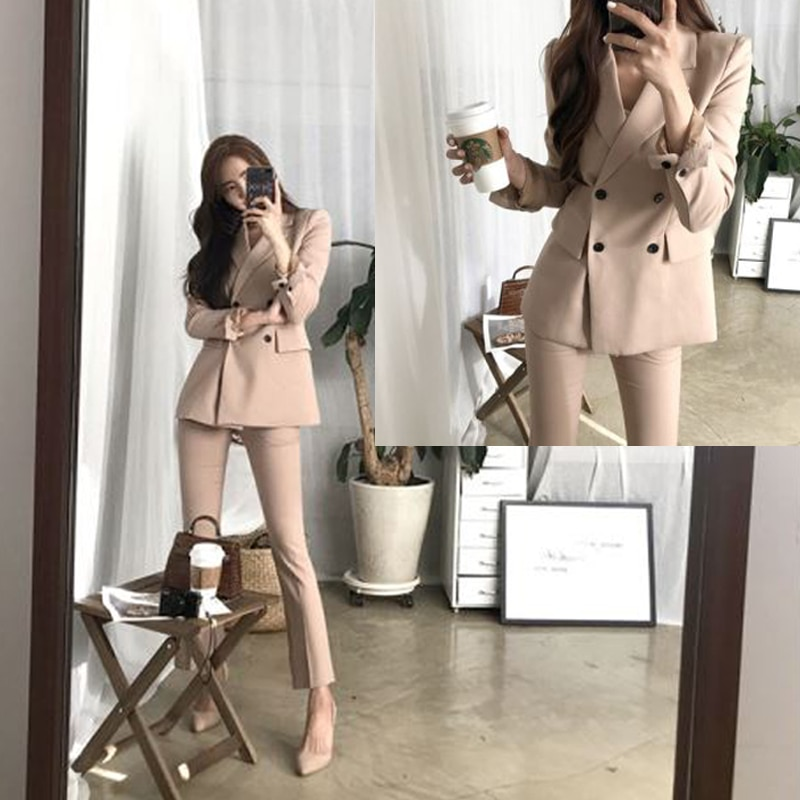 2 piece set women Suit femal new style high quality business solid color European casual office ladys jacket + pants suit