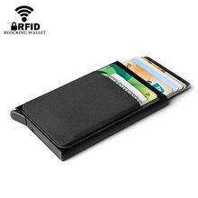 Алюминиевый кошелек с эластичным лайкрой задний карман RFID Блокировка мини металлический держатель для кредитных карт автоматический вспл...
