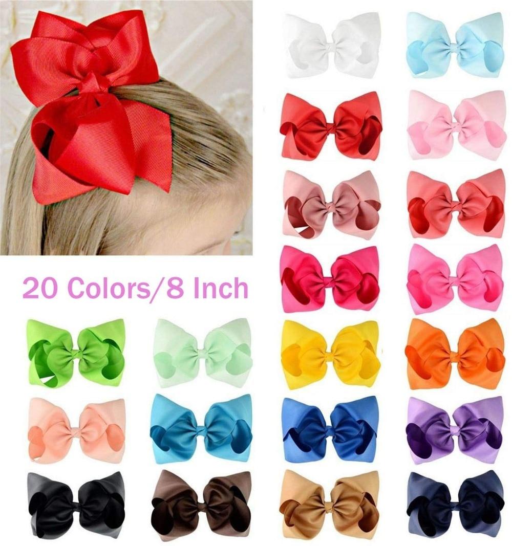 "20Pcs 8"" Hair Bows Clips Boutique Grosgrain Ribbon Big Large Bowknot Pinwheel Headbands For Baby Girls Teens Toddlers Kids"