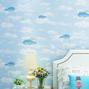 beibehang Cute cartoon children's non-woven wallpaper Sea landscape bedroom children's clothing store tea shop wallpaper