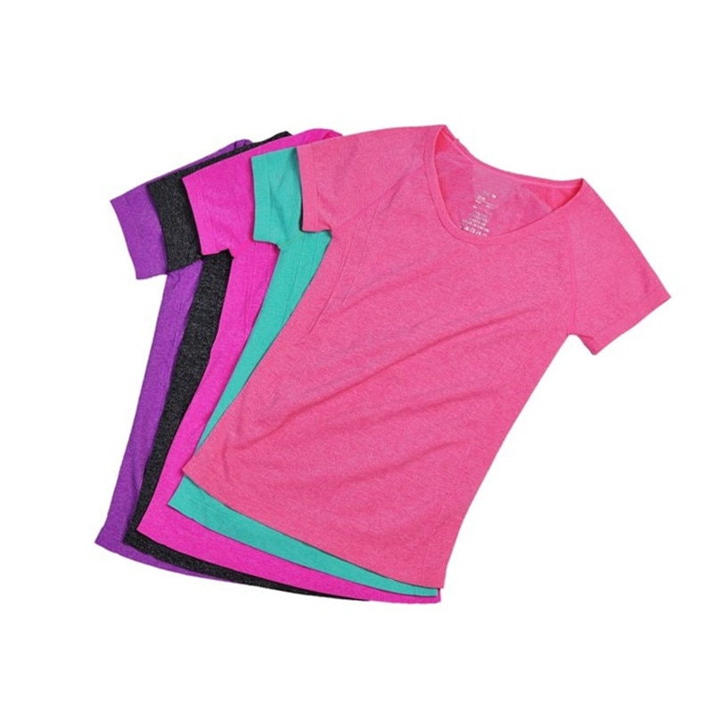 Korean Women Clothes Sports T-shirt Short Sleeve Quick-dry Breathable Good Shape Building 5Colors Sports Gym Running
