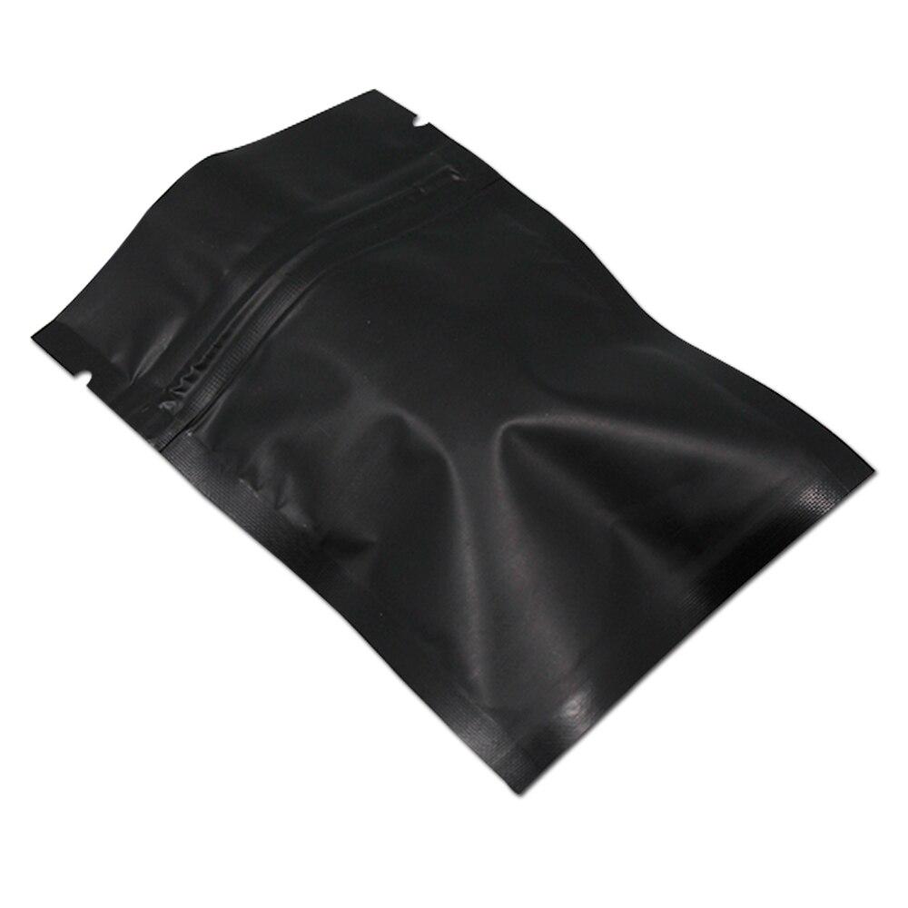 Negro mate lámina con cierre zip bolsa reutilizable papel de aluminio plano bolsas metálicos Mylar de paquete de bolsa de hierba polvo de café