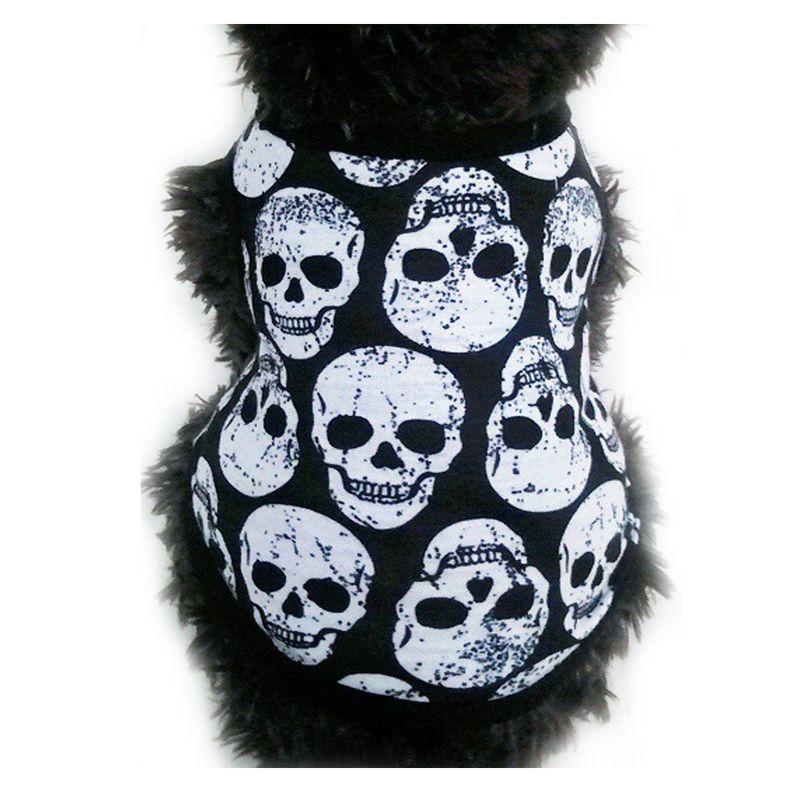 Mascota Primavera Verano chaleco huesos negros huesos blancos cabeza del diablo perro fresco traje calaveras patrones ropa de disfraz Chaleco de primavera fino H1