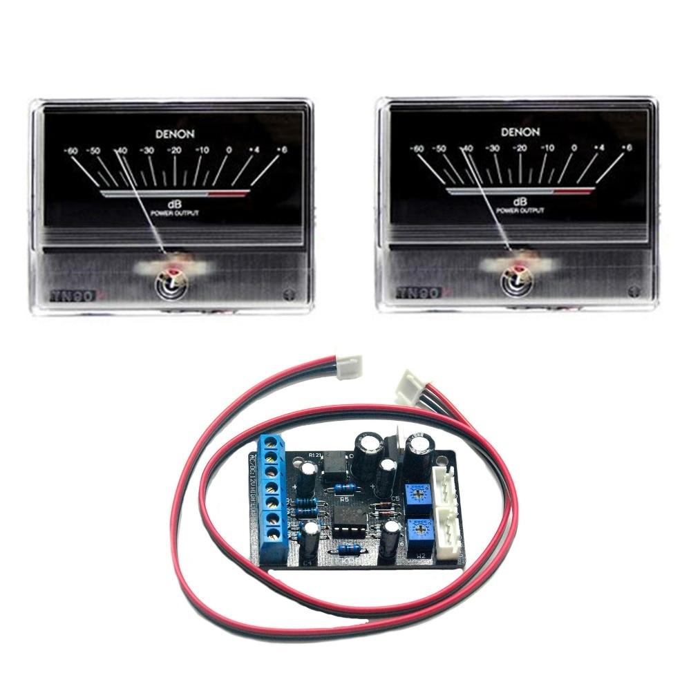 2pcs TN90 Denon VU Meter DB Level Header Audio Power Amp Backlight  w/backlight & 1pcs TA7318P Driver Board