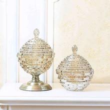 Bouteilles verre de luxe européen   Artisanat de maison, support anti-poussière, pots de dessert et bonbons, boîte de thé, pot de rangement, vase de mariage