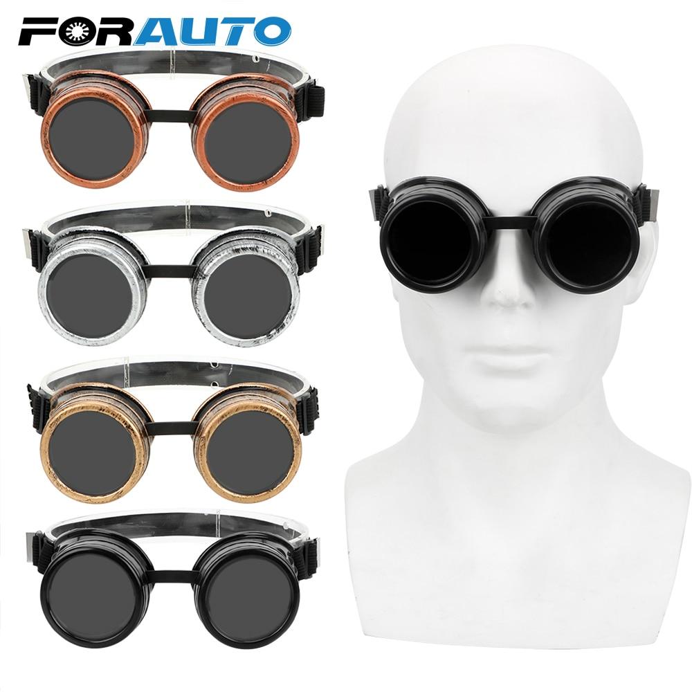 FORAUTO Moto Goggles Adjustable Vintage Eyewears Welding Punk Gothic Sunglasses Retro Sun Glasses Steampunk