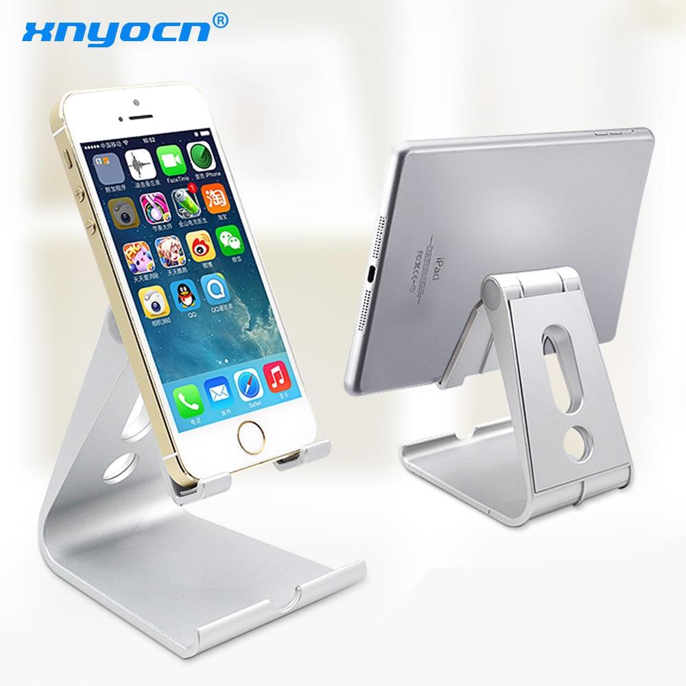 Xnyocn soporte de teléfono universal para teléfono móvil de aluminio escritorio teléfono bisagra de montaje ajustable Tablet Stands para IPhone 6 7 para IPad