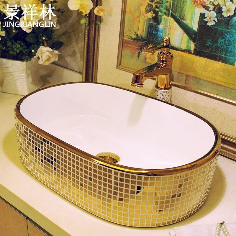 Moda retângulo forma oval arte bacia lavatório contador bacia mdash. Mosaico de ouro