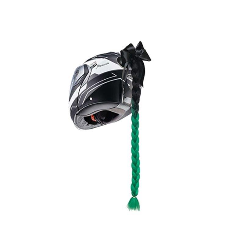 Punk Style motocykl pochylnia gradientowa kask warkocze Twist Braid Horn motocykl pełna twarz Off motocykl kask warkocz