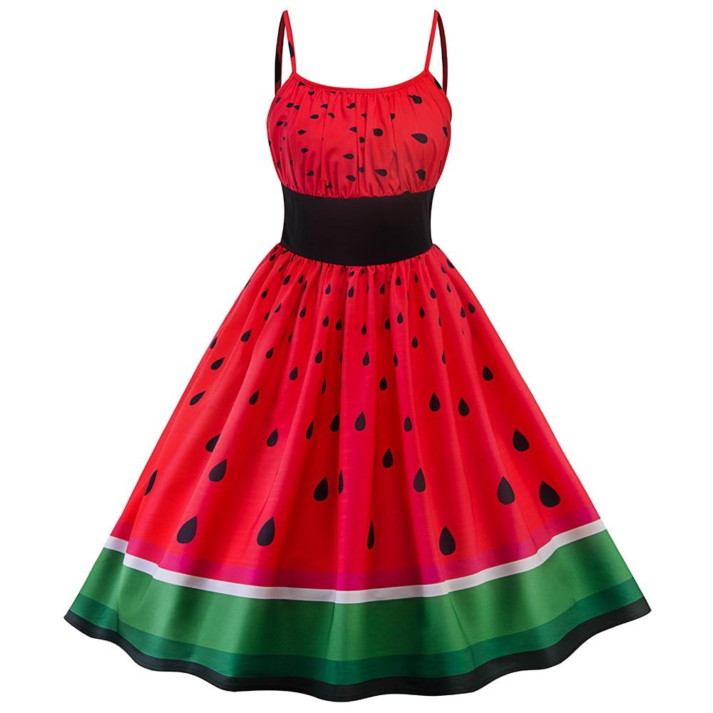 Sisjuly Women Sweet Retro Date Beach Dress Black Elastic Waist Green Watermelon Red Strawberry Backless Spaghetti Strap Dresses