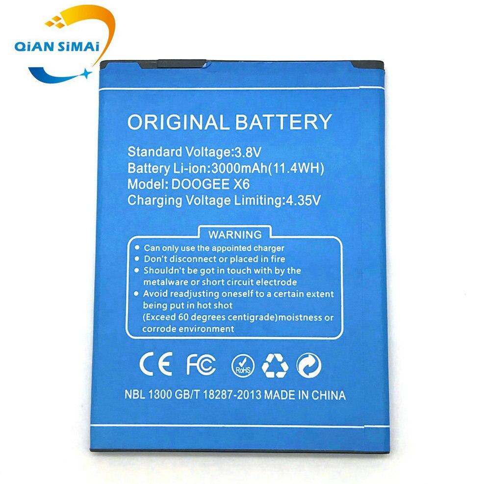 1 pçs novo doogee x6 3000 mah li-ion bateria substituição para doogee x6 pro telefone celular + código de rastreamento