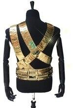 Rare mj michael jackson jam cintura uomo 24 k color oro in metallo  3 cinghie & pallottola punk cintura esattamente collezione performance show regalo