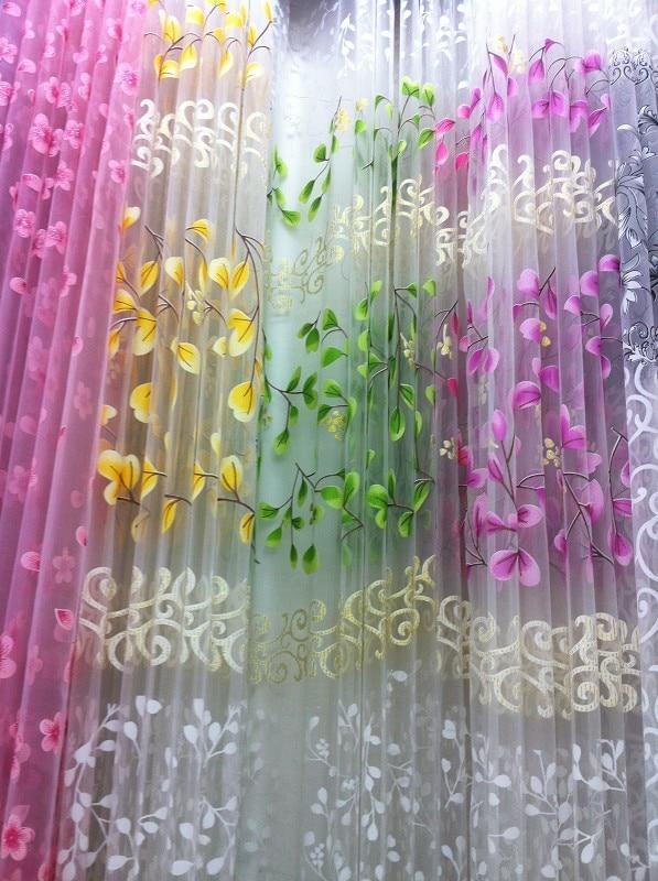 CS 152 Floral Elegante Painel de Cortina Da Janela Da Porta Cortina de tecido Tule Voile Sheer Lenço Sanefas cortinas de tule luz folha de Jacquard