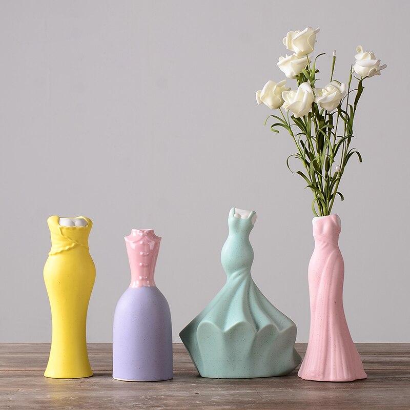 Menina de cerâmica Vaso de Decoração Para Casa Nordic Pequeno Vasos para Casamento Decoração Tabletop Vasos Artesanais para decoração de Casa
