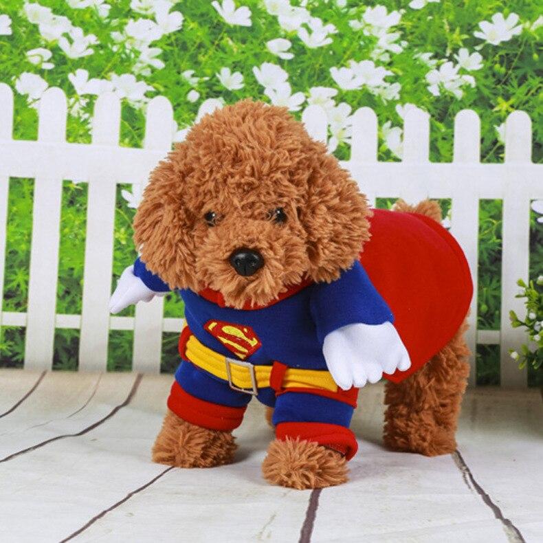 2016 Superman Pet Cão Roupas Revestimento Do Cão Gato Filhote de Cachorro Roupas para Animais Traje Dos Desenhos Animados Filhote de Cachorro Yorkshire Traje Casaco Moletom Com Capuz De Pelúcia