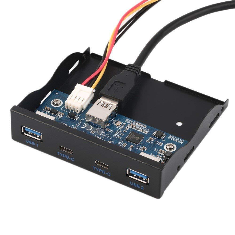 3.5 بوصة قرص مرن الجبهة لوحة USB Hub 2 منافذ USB 3.0 و 2 منافذ USB 3.1 نوع C مع 20 دبوس موصل ل كمبيوتر مكتبي