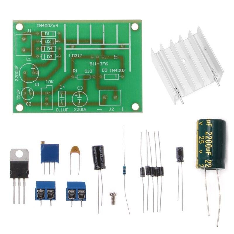 Placa de alimentación reguladora de tensión regulable LM317 con entrada de CC de CA rectificada Kit DIY