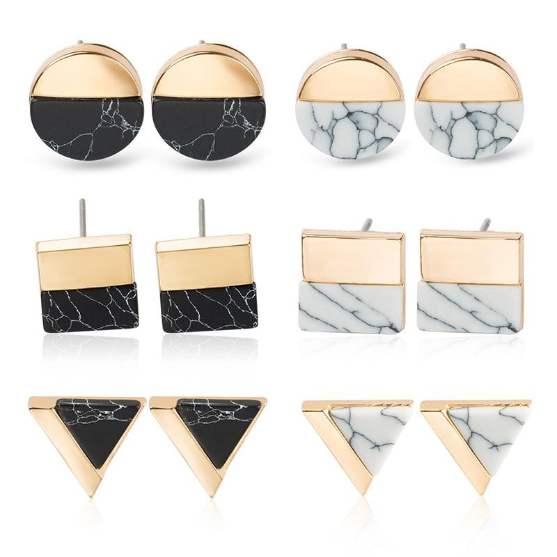 Euro-American retro round triangular square half-edge Earrings with simple geometry womens earrings in jewelry
