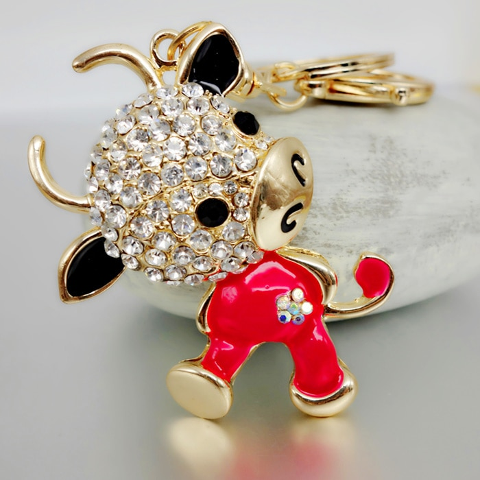 Adojewello Jewelry Free Shipping Rhinestone Crystal Lovely Cow Keychain  Keyring For Car Handbag Chram Key Holder Wholesale
