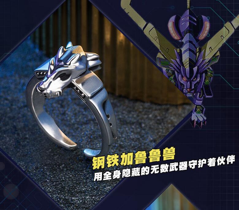 Anillo de Metal de Digimon Adventure 15 ° aniversario, ajustable en plata 925