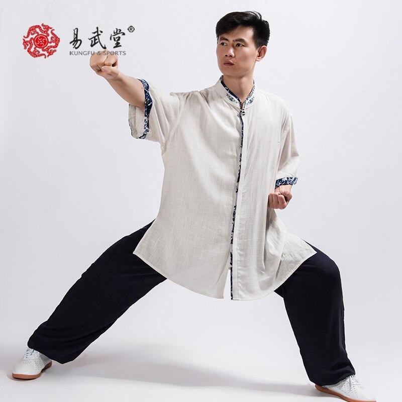 Новый костюм Yiwutang из хлопка и льна для боевого искусства, Высококачественная Униформа Wu shu для занятий йогой в стиле унисекс, для мужчин и женщин на лето| | | АлиЭкспресс