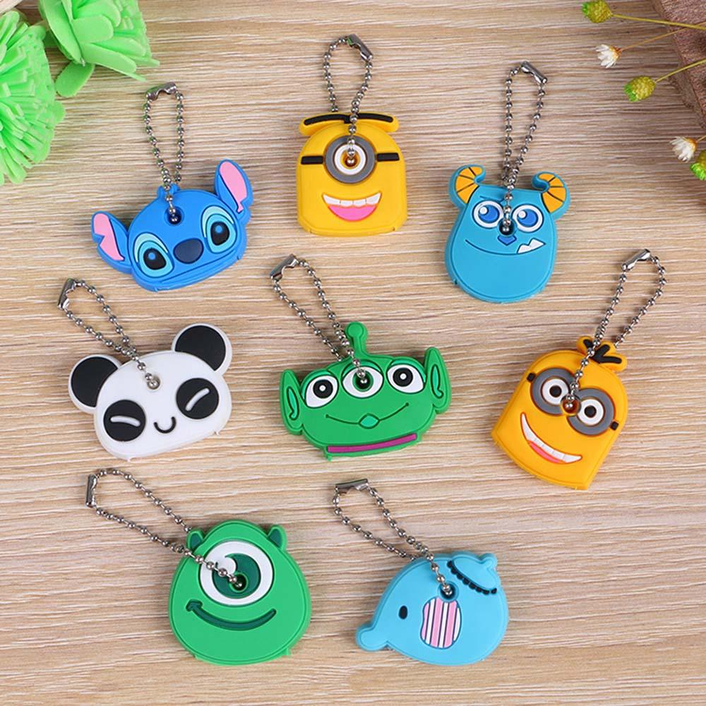 suti 40pcs/lot Lovely Anime Cartoon Silicone Stitch Key Cover Key Caps Keychain Key Chain Ring Holder Gift