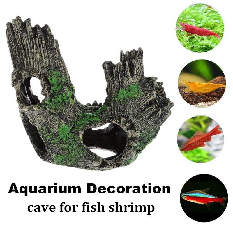 Árbol de resina, madera de tronco flotante, decoración de Acuario, agujero de madera Artificial, decoración de pecera, cueva de roca para peces, camarones 14x10x11cm