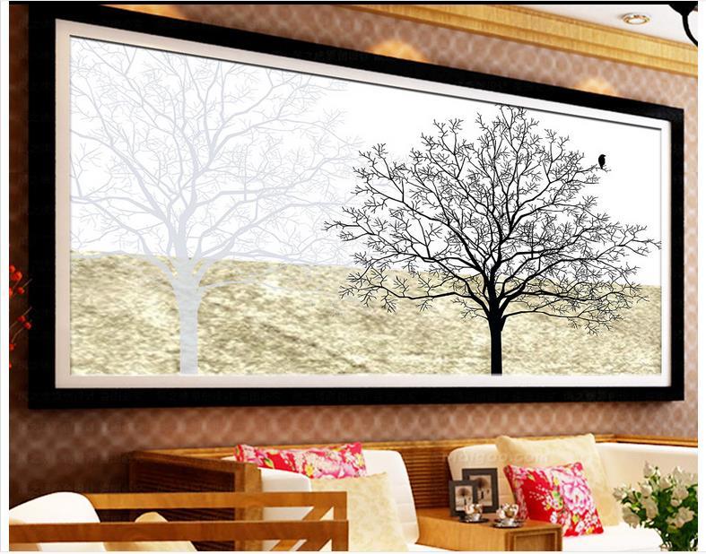 Papel tapiz de foto personalizado para paredes, mural de papel tapiz en 3 d, Árbol Abstracto configuración de TV, imagen de adorno de pared en blanco y negro