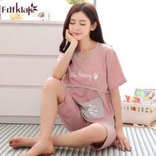 Fdfklak-pyjama grande taille femme enceinte   Manches courtes, en coton, vêtement de maternité