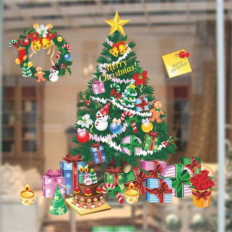 Рождественская наклейка поводок постер виниловые Съемные рождественские настенные окна дверные наклейки украшение для дома Декор плакаты