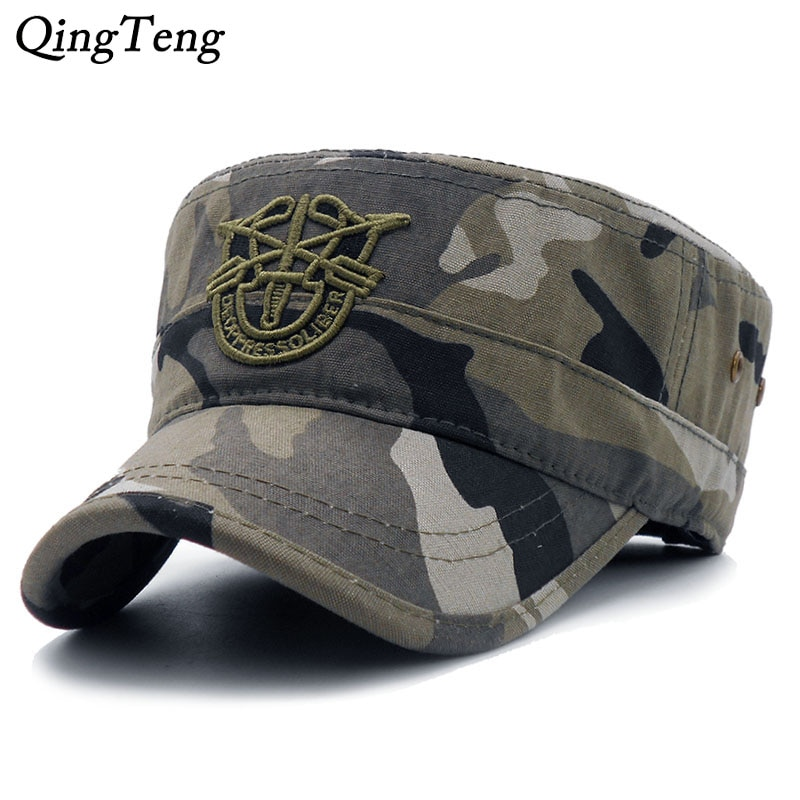 2020 neue Ankünfte Flache Kappe Armee Baseball Kappe Männer Taktische Navy Seal Armee Camo Kappe Einstellbare Visier Sonne Hüte