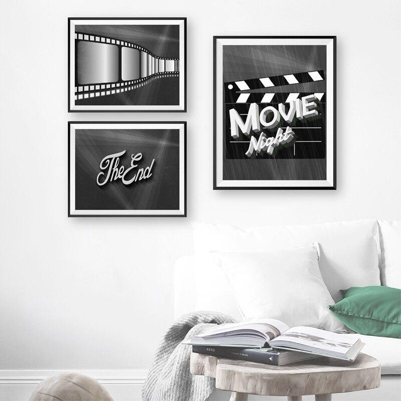 Película de noche carteles y impresiones de cine en casa decoración de cine amantes de la película regalos palomitas película Noir cine ilustración lienzo pintura