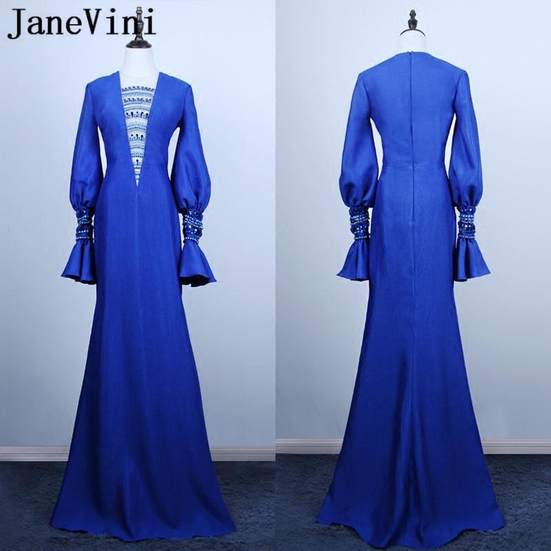 JaneVini-Vestidos azul real de manga larga para madrina, vestido de noche Formal...
