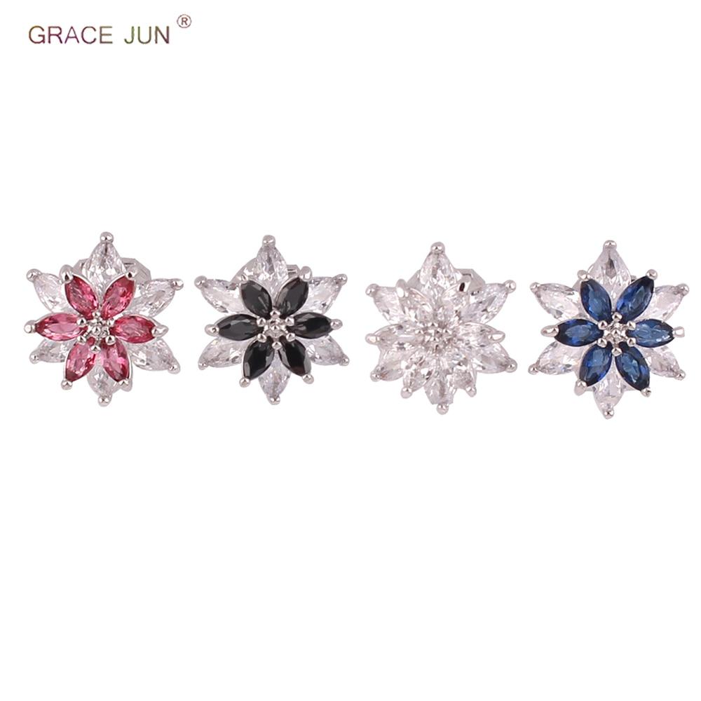 Grace Jun nueva moda AAA Zirconia cúbica doble corazón Clip en los pendientes sin Piercing para las mujeres de la fiesta encanto sin agujero Clip de oreja