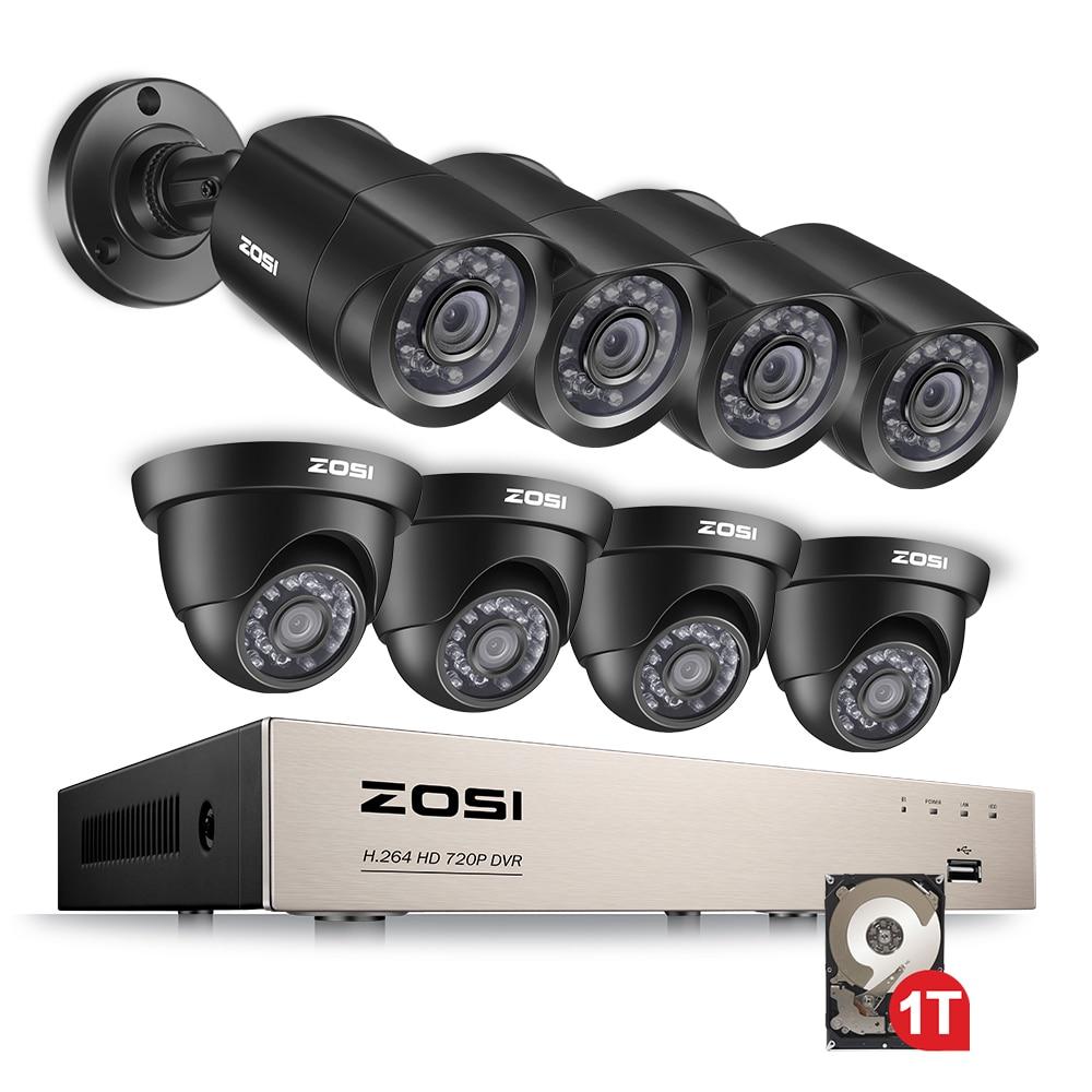 Камера видеонаблюдения ZOSI 8CH 1080N TVI H.264 + ТБ 8CH DVR 8 720P, система камер домашней безопасности