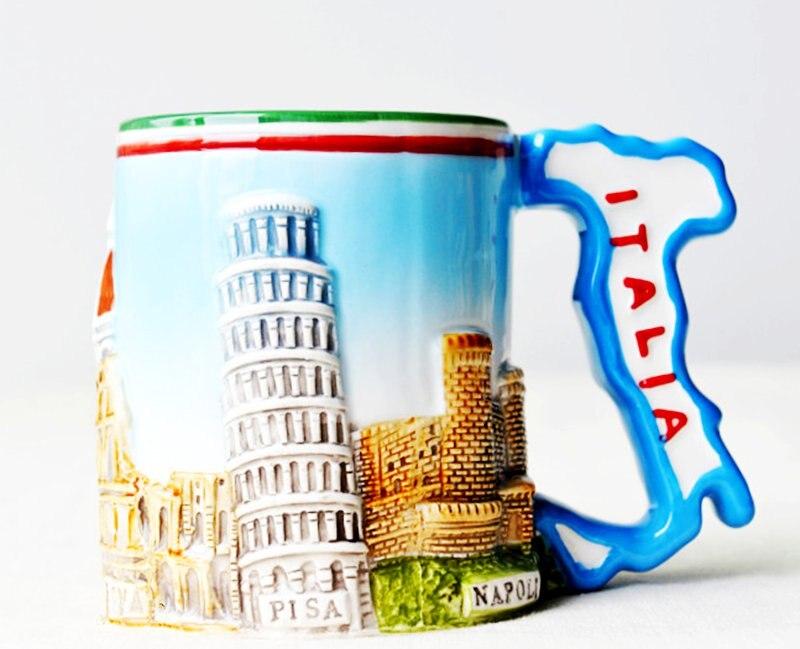 Leaning-أكواب حليب سيراميك على الطراز الإيطالي ، برج بيزا ، تذكار السفر العالمي ، أدوات الشرب المنزلية والمكتبية ، الهدايا التذكارية