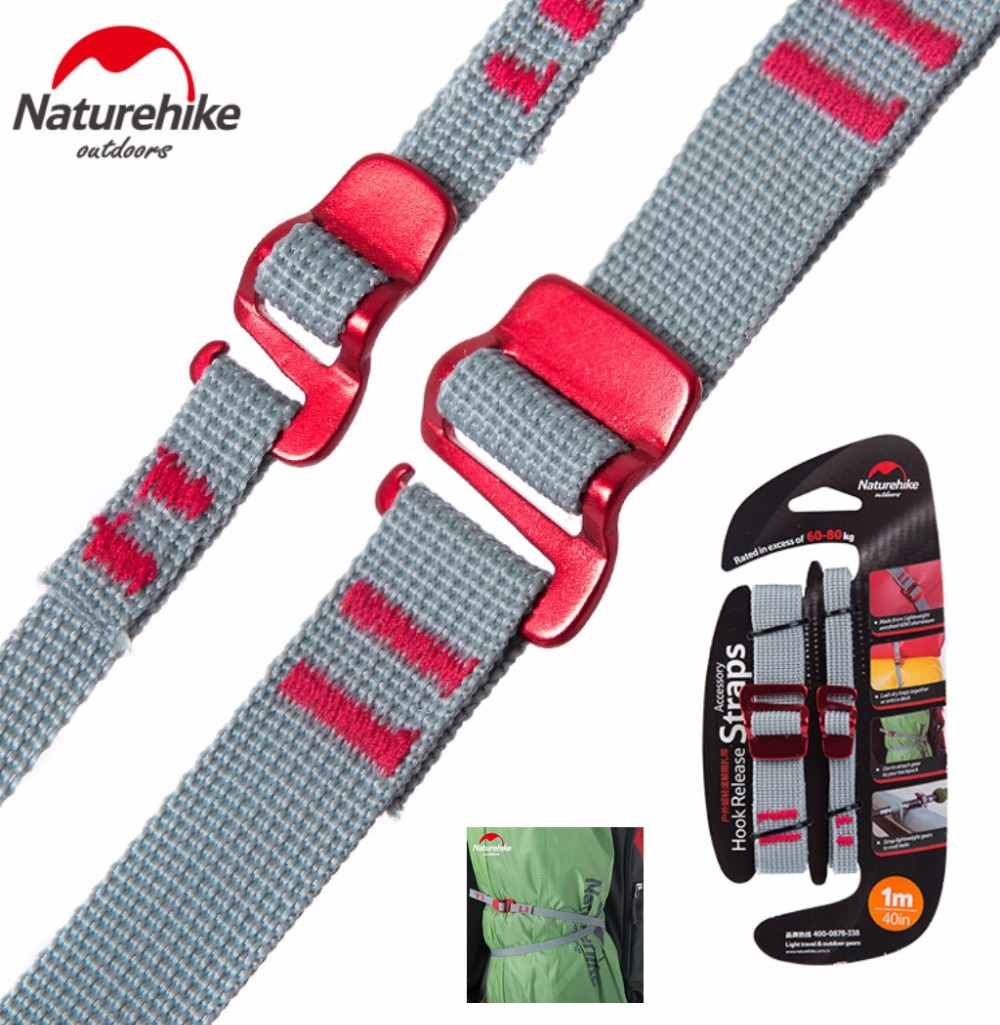 Naturehike 2pcs Portable Baggage Belt Tent strap Hook Clip Travelling Luggage backpack sleeping bag Belt Straps alloy buckle