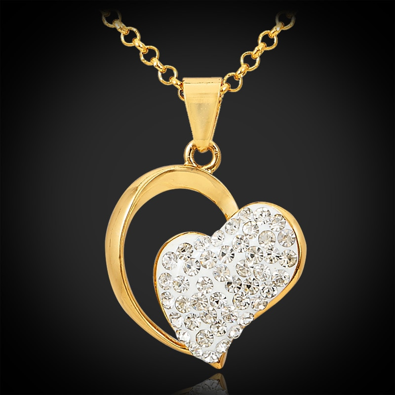 Joyería de corazón Kpop para mujer collar de diamantes de imitación austriaco colgante envío gratis Color oro joyería de alta calidad marca P603