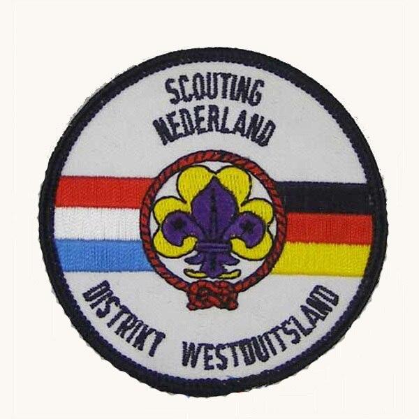 Parches de bordado de Nederland, etiquetas de productos de tela bordadas, borde de Merrow y respaldo de PVC, MOQ50pcs personalizados