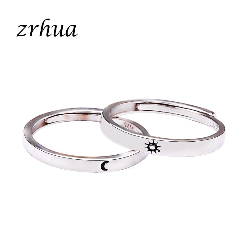 Simple Moon and Sun Finger Rings for Men Women High Quality Silver Color Jewelry Resizable Anillos Engagment Anel
