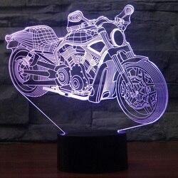 Новая мотоциклетная Настольная лампа с дистанционным управлением, сенсорный ночник, 7 цветов, меняющий мотоциклы, спальный светильник, USB 3D ...