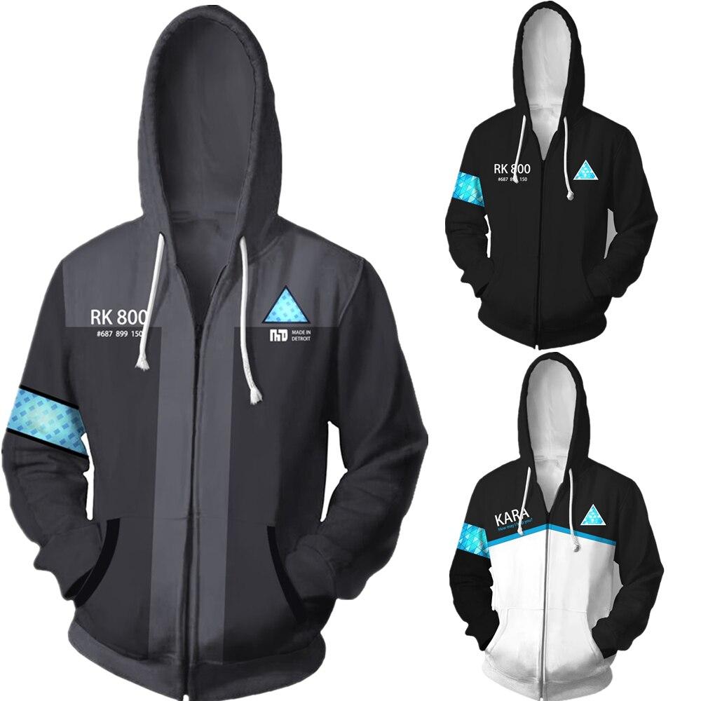 Detroit Become Human Connor RK800 3D Print Hoodies Sweatshirts Cosplay Hooded Casual Coat Jacket